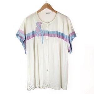 VTG Vanity Fair Cream Pajama Top